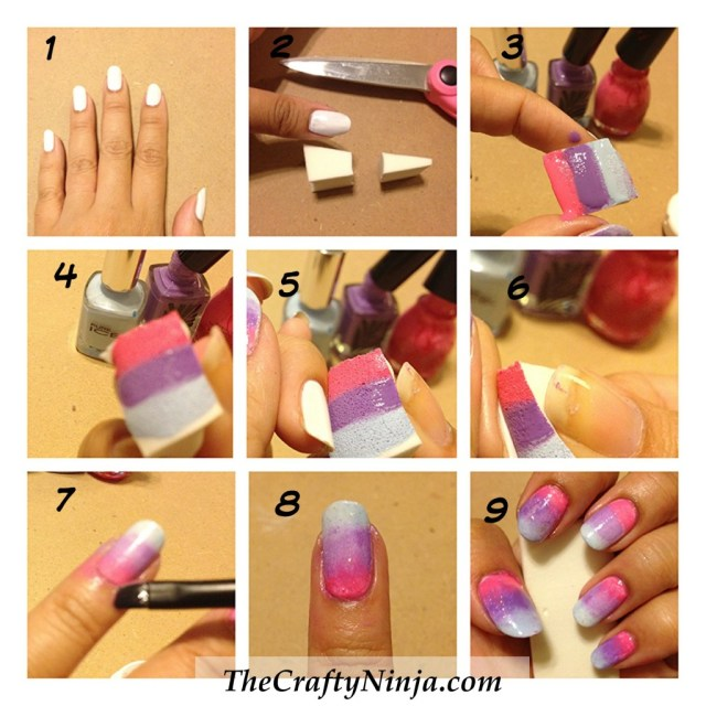 diy gradient ombre nails
