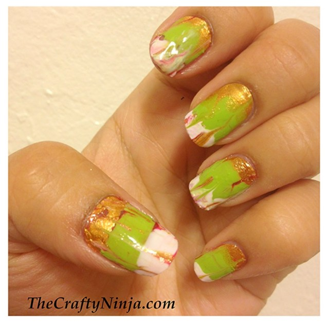dry water marbling nails