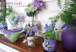 Spring Mantel with Fabric Covered Jars