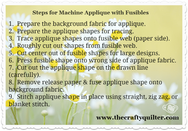 applique steps via the crafty quilter