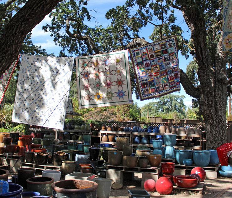 quilts near pots