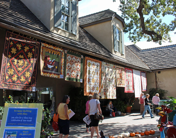 quilts on building