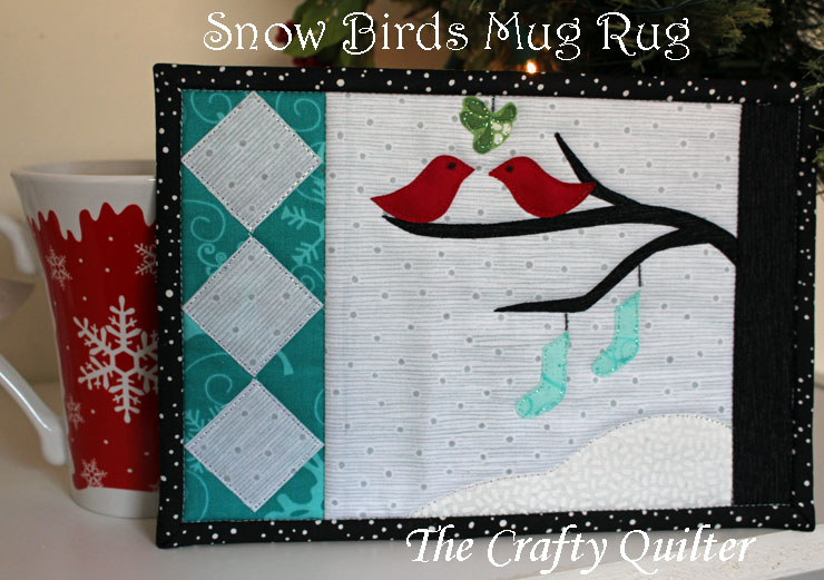 Snow Birds Mug Rug Pattern designed by Julie Cefalu @ The Crafty Quilter Designs