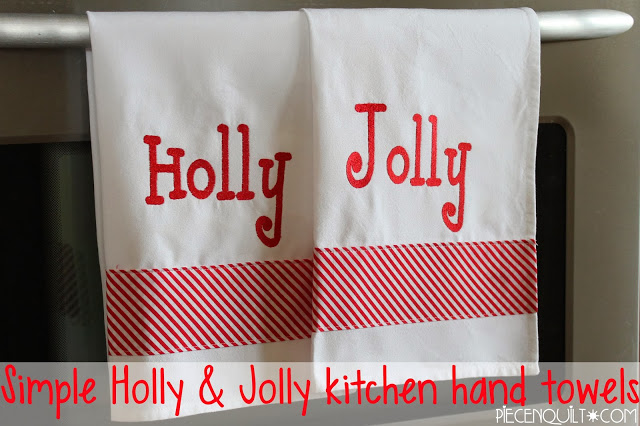 Holly and Jolly Kitchen Hand Towels Tutorial