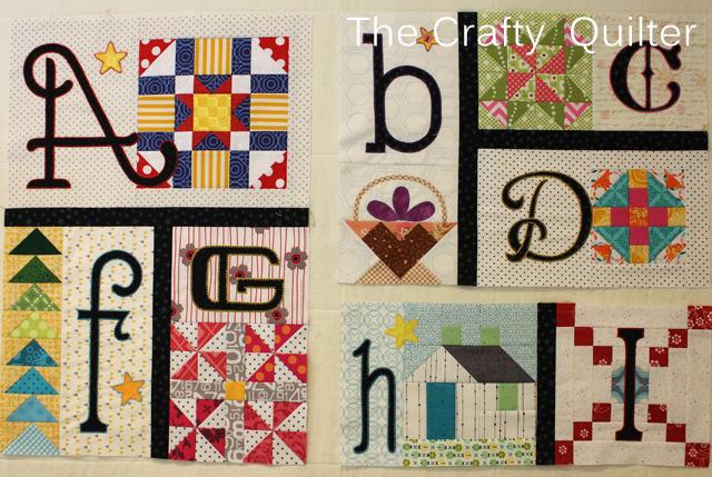 Letters A thru I of TQS 2014 BOM, made by Julie CEfalu