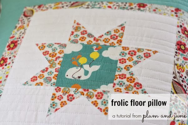 Frolic Floor Pillow Tutorial by Plum and June @ Birch Fabrics
