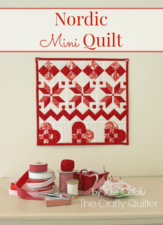 "Nordic Mini Quilt by Julie Cefalu, finishes at 14 1/2"" square.  Free tutorial @ The Crafty Quilter."