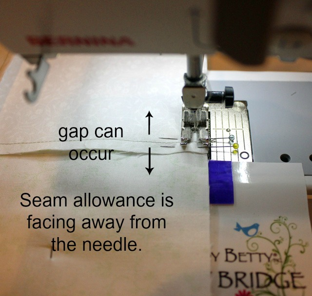 seam away from needle words
