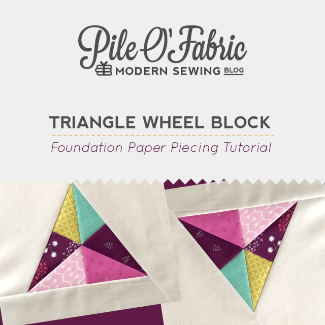 Triangle Wheel Block tutorial @ Pile O' Fabric