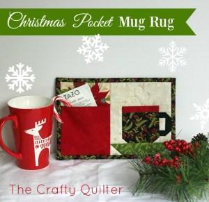 Christmas Pocket Mug Rug Pattern designed by Julie Cefalu @ The Crafty Quilter Designs