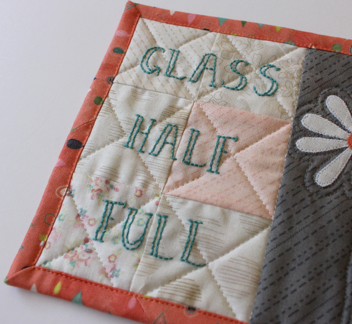 Glass Half-Full Mug Rug, a free pattern by Julie Cefalu, @ The Crafty Quilter