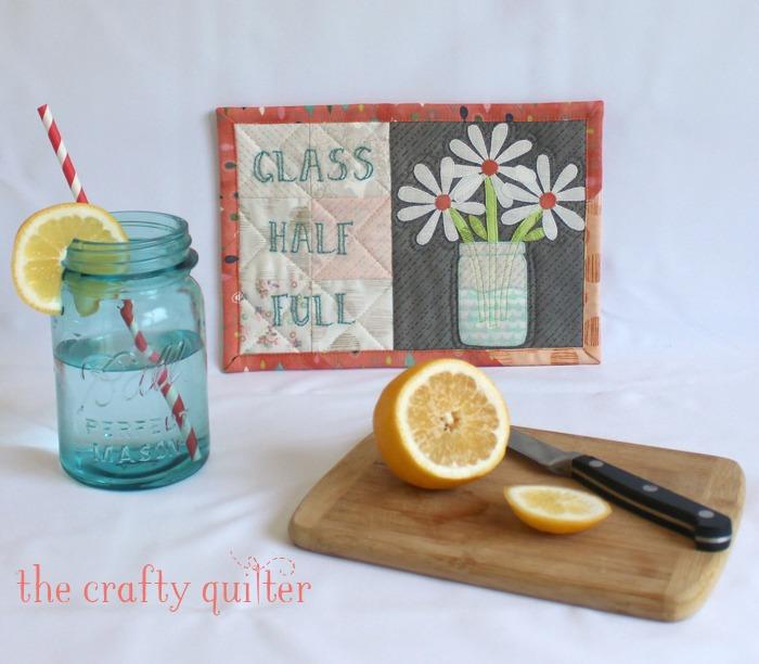 Glass Half Full Mug Rug tutorial@ The Crafty Quilter