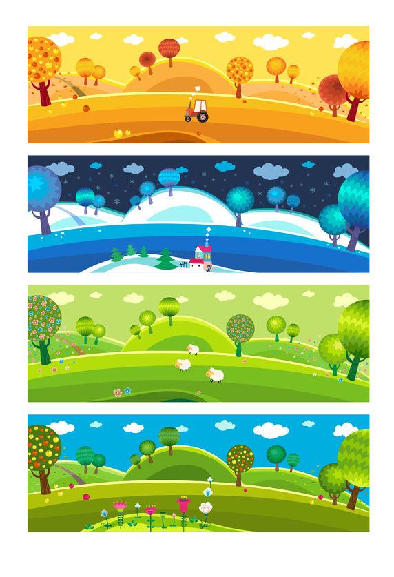 22960803 - four seasons: winter, spring, summer, autumn. vector.