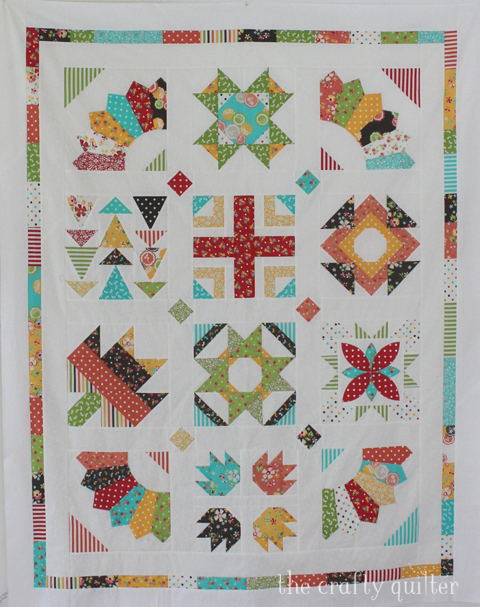 My finish for the May UFO & WIP Challenge:  The Sugar Block Sampler BOM made by Julie Cefalu @ The Crafty Quilter and designed by Amy @ Stitchery Dickory Dock