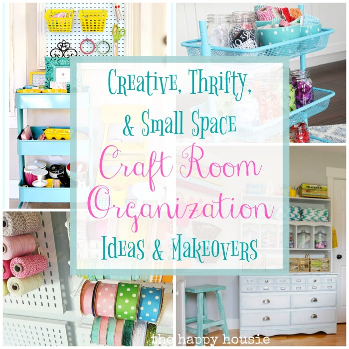 Creative, Thrifty & Small Space Craft Room Organization at The Happy Housie
