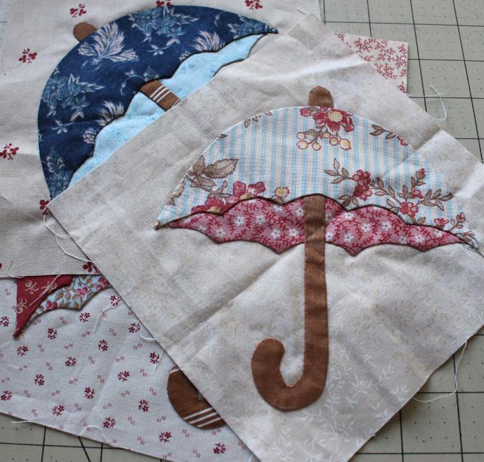 Umbrella applique @ The Crafty Quilter