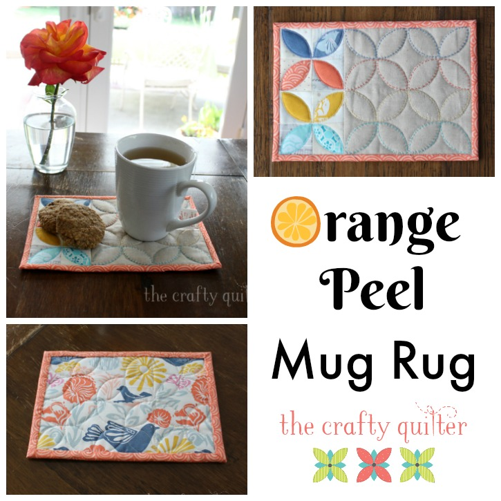 The Orange Peel Mug Rug makes a perfect gift and I have a tutorial that shows you how to make your own using a little bit of applique and embroidery. Get all the details at The Crafty Quilter.