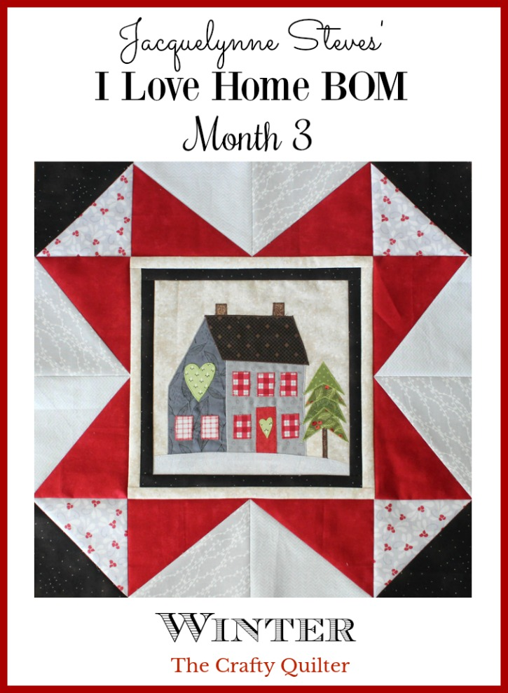 Jacquelynne Steve's I Love Home BOM Month 3, block made by Julie Cefalu