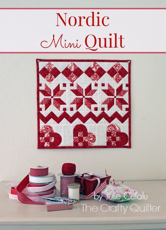 Nordic Mini Quilt Tutorial @ The Crafty Quilter. It's perfect for Winter and for Valentine's Day!