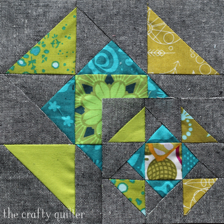 "6 1/2"" block and 3 1/2"" block made by Julie Cefalu, designed by Cheryl Brickey for the Quilter's Planner"