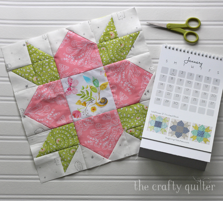 Wildflower Block made by Julie Cefalu, from Heartland Heritage desktop calendar by Inspiring Stitches