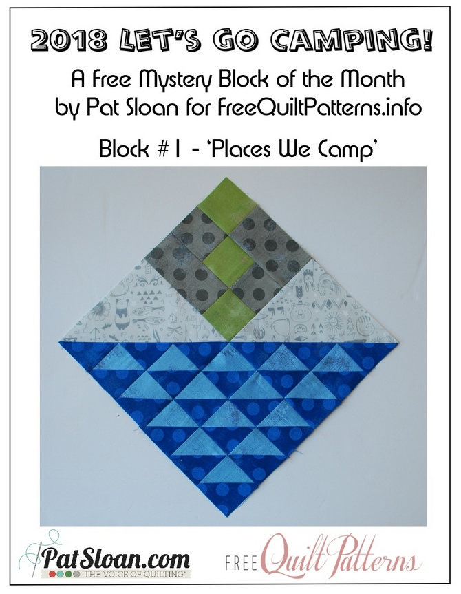 Free Mystery BOM, Let's Go Camping, hosted by Pat Sloan for Free Quilt Patterns.info