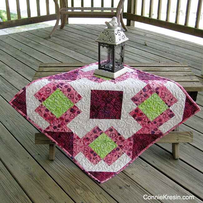 Churn Dash Medallion Table Topper by Connie Kresin @ Free Motion by the River