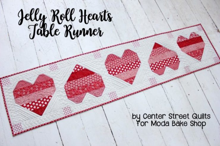 Jelly Roll Hearts Table Runner by Center Street Quilts for Moda Bake Shop