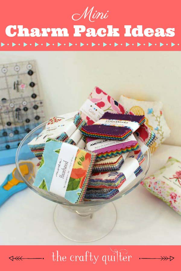 "Mini Charm Pack Ideas to use up those pre-cut 2 1/2"" squares - from Julie @ The Crafty Quilter"