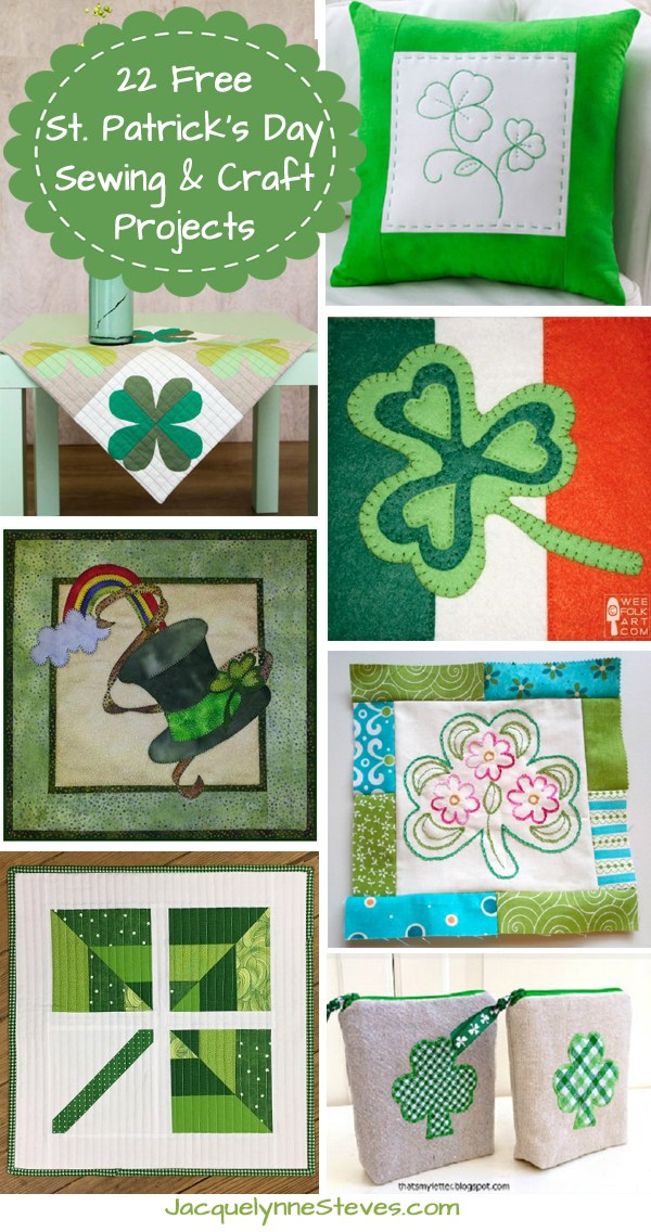 22 Free St. Patrick's Day Sewing & Craft Projects @ Jacquelynne Steves