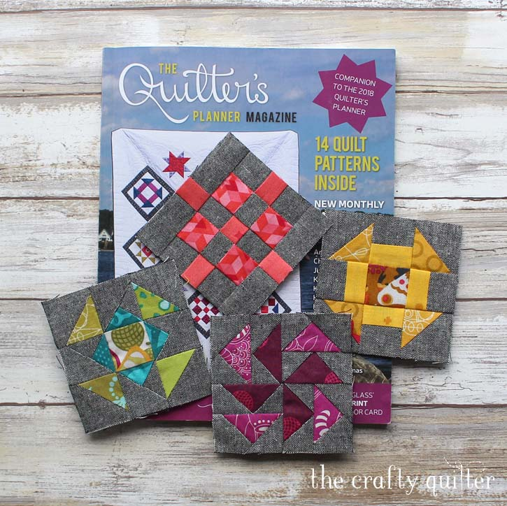 """6"""" quilt blocks from the Quilter's Planner Sew Along. Made by Julie Cefalu, designed by Cheryl Brickey."""