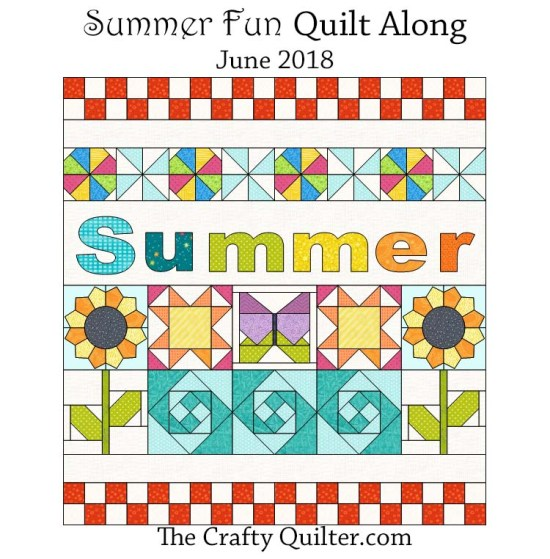 Summer Fun QAL @ The Crafty Quilter.  Free instructions posted each week during June of 2018.