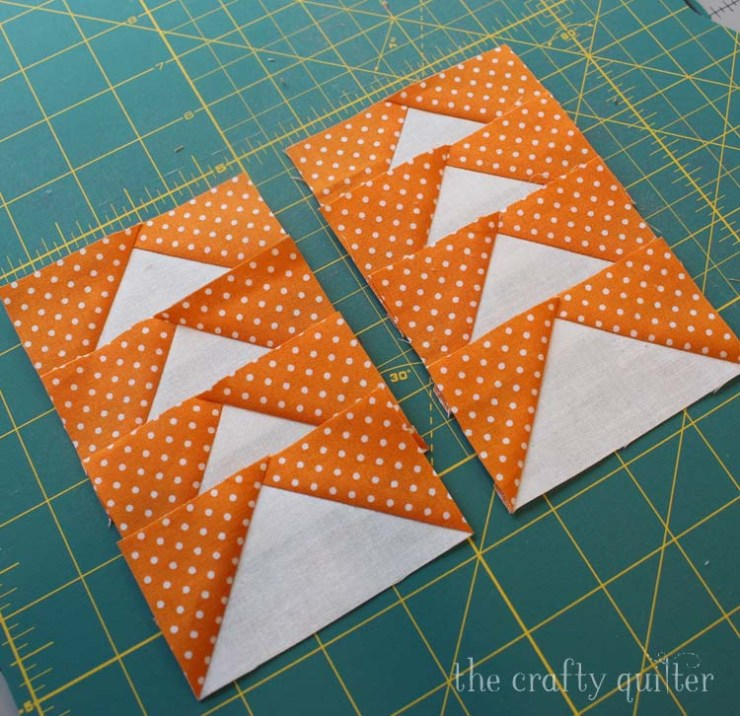 Two methods for making oversized flying geese units along with cutting charts for both @ The Crafty Quilter