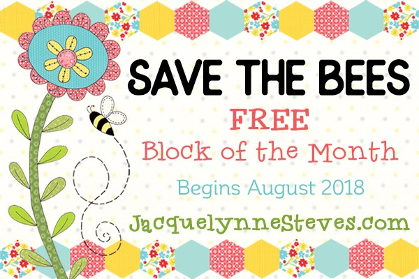 Save the Bees FREE block of the month from Jacquelynne Steves