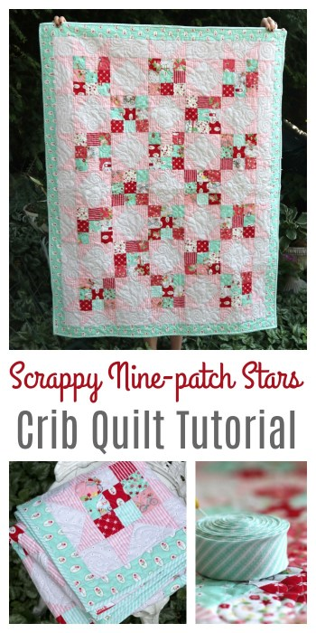 Scrappy Nine Patch Stars Baby Quilt Tutorial @ Diary of a Quilter
