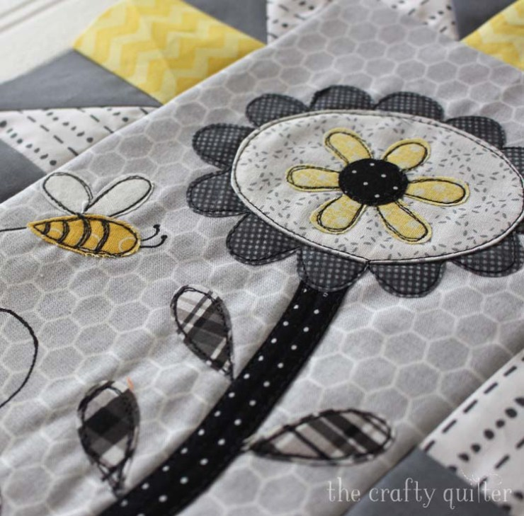 Save The Bees block of the month designed by Jacquelynne Steves. Month 1 block featuring sketch applique made by Julie Cefalu @ The Crafty Quilter