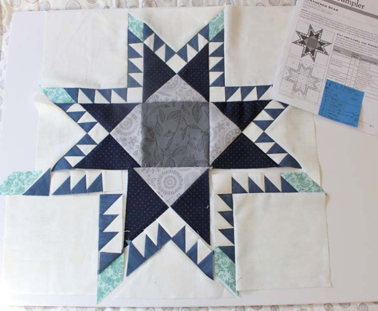 Feathered Star block in pieces - by Julie Cefalu @ The Crafty Quilter.