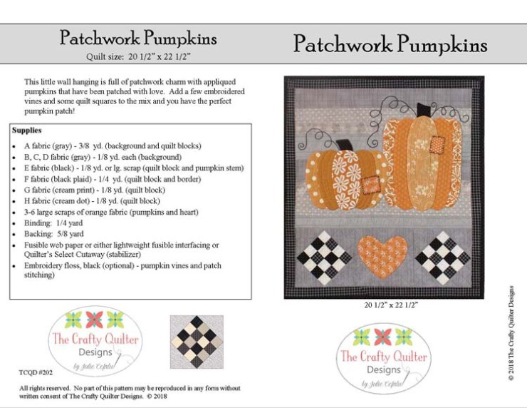 Patchwork Pumpking Pattern by Julie Cefalu @ The Crafty Quilter