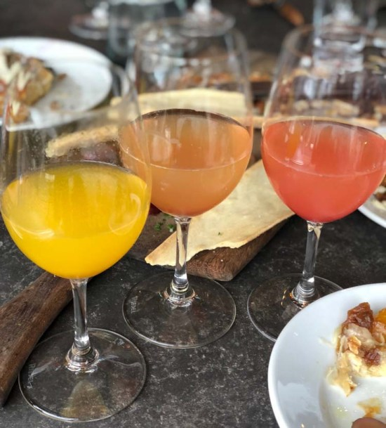 Mimosa flight at the Purple Cafe in Woodinville, WA.