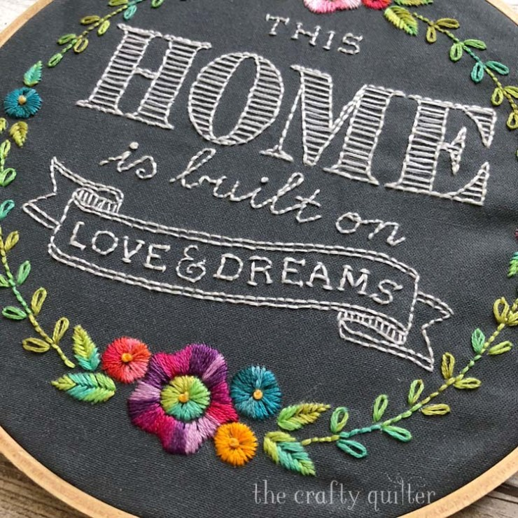 HOME embroidery project made by Julie Cefalu; designed by Lollie & Grace