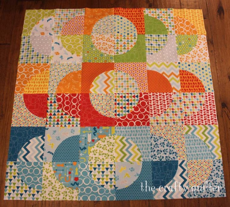 Drunkard's Path Quilt made by Julie Cefalu @ The Crafty Quilter using Slit 'N Sew CutRite Templates by Quilter's Paradise