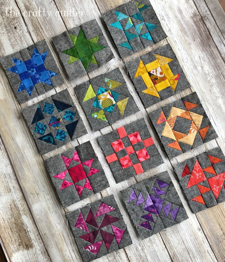 Mini Quilt blocks made by Julie Cefalu. Designed by Cheryl Brickey for the 2018 Quilter's Planner