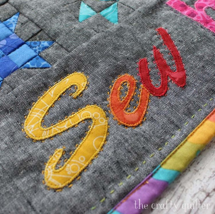 Sew Happy Mini Quilt made by Julie Cefalu @ The Crafty Quilter. Tutorial coming soon!