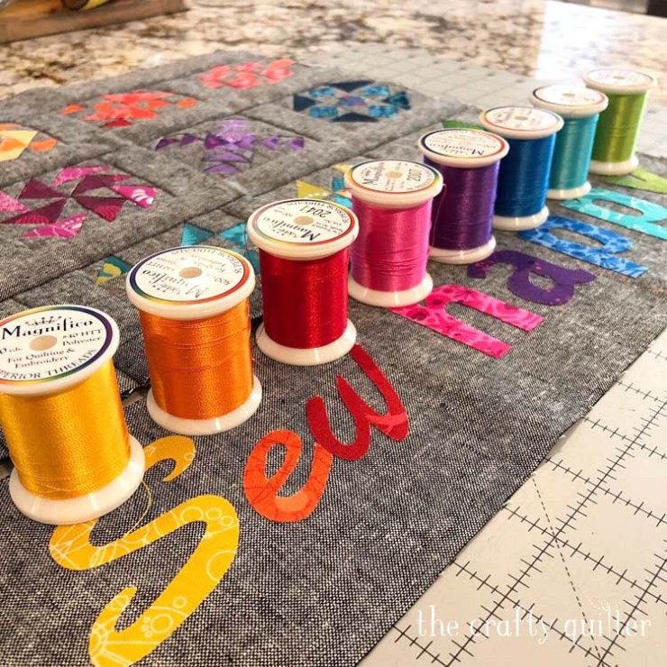 Sew Happy Mini Quilt made by Julie Cefalu @ The Crafty Quilter