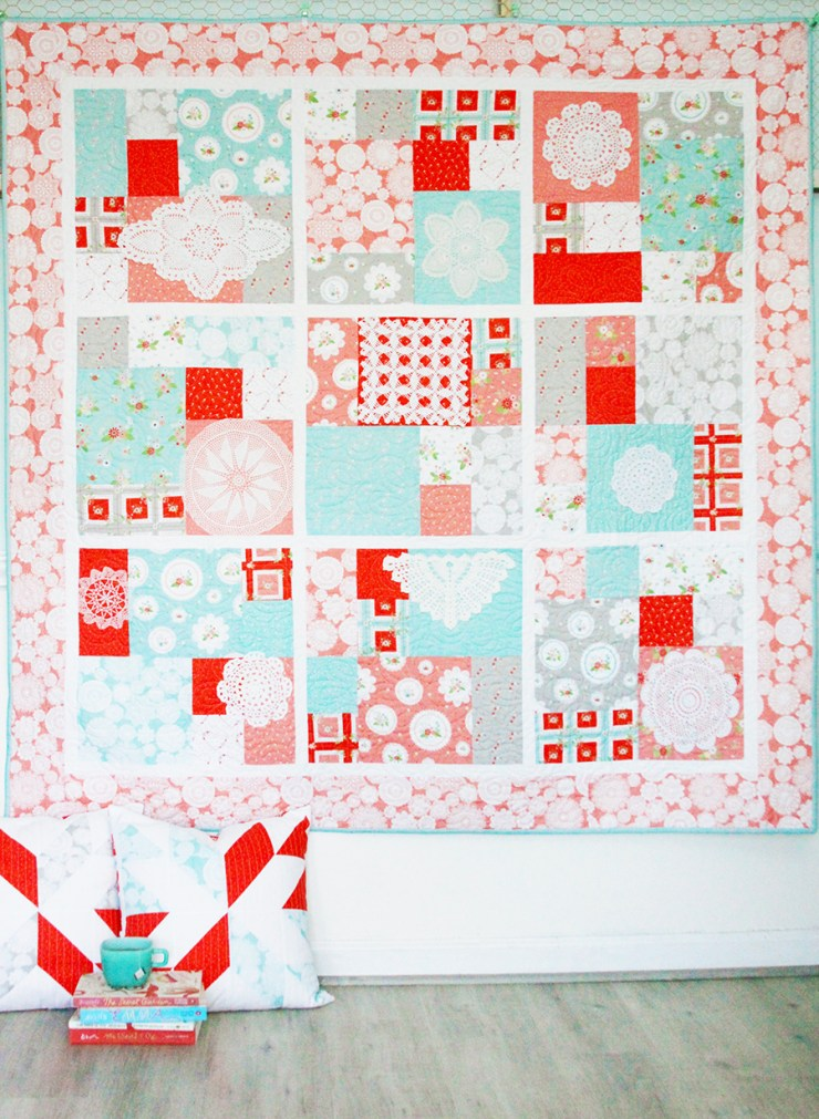 Vintage Doily Keepsakes Quilt Pattern by Beverly at Flamingo Toes; featured on Sew Thankful Sunday @ The Crafty Quilter