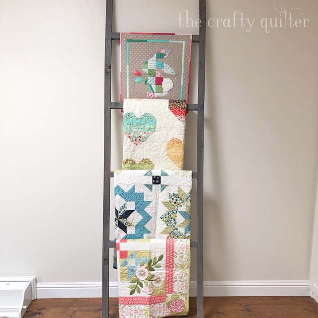 Quilt Ladder in the sewing room @ The Crafty Quilter