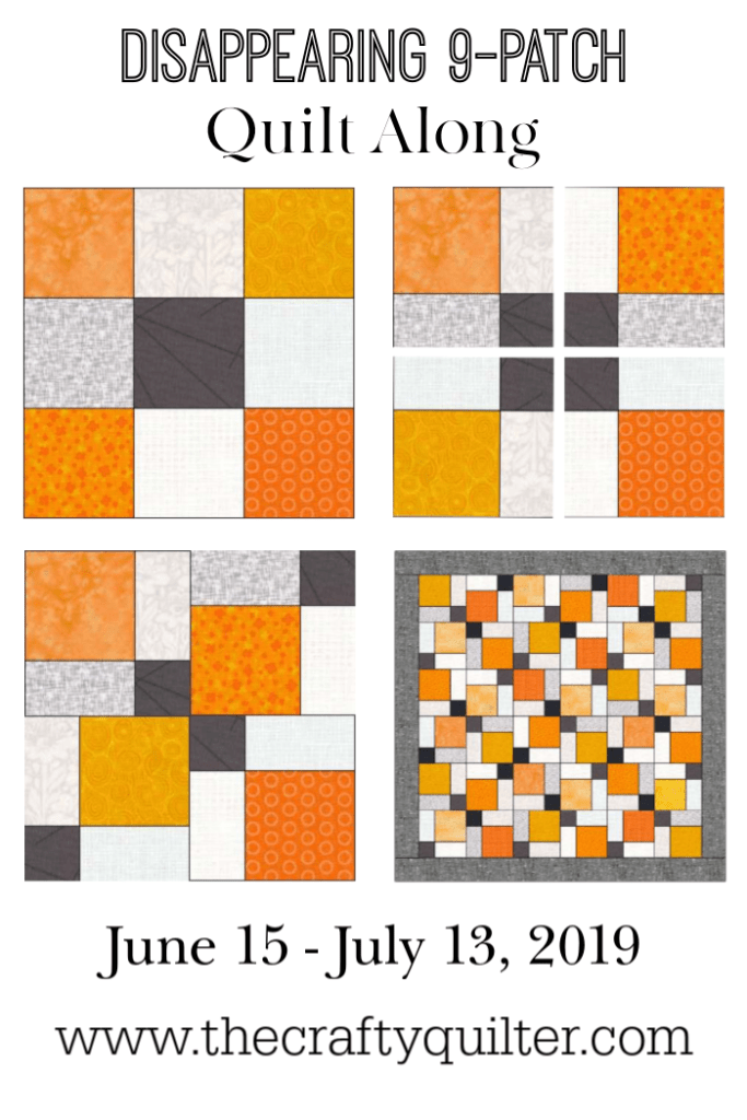 A fun summer quilt along is coming.  The Disappearing 9-patch quilt along begins on June 15, 2019 at The Crafty Quilter