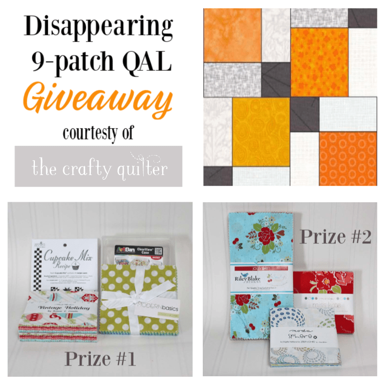 Disappearing 9-patch Quilt Along, week 1 at The Crafty Quilter.  Today is all about fabric requirements and giveaway information!