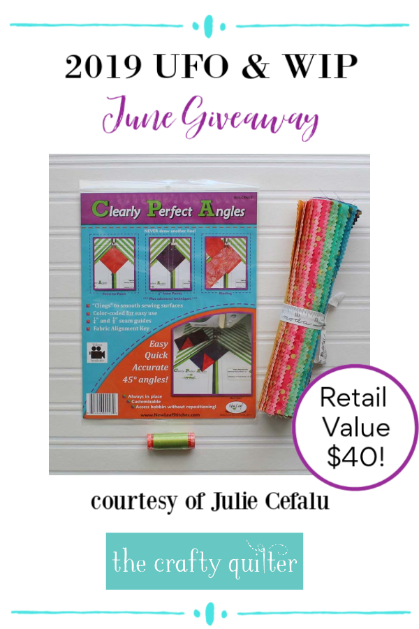 June giveaway for the 2019 UFO & WIP Challenge @ The Crafty Quilter