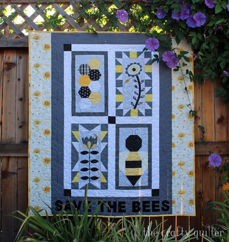 My June UFO & WIP Challenge project is my Save The Bees Quilt designed by Jacquelynne Steves and made by Julie Cefalu